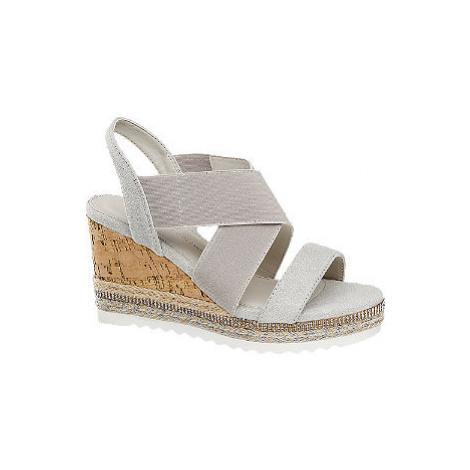 Svetlosivé sandále na klinovom podpätku Claudia Ghizzani