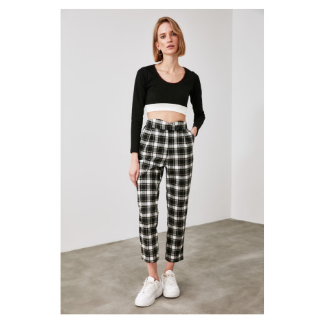 Trendyol Black Checkered Trousers