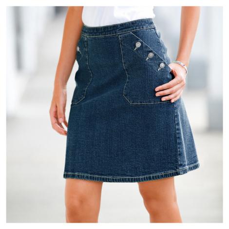 Blancheporte Džínsová sukňa s gombíkovými vreckami denim