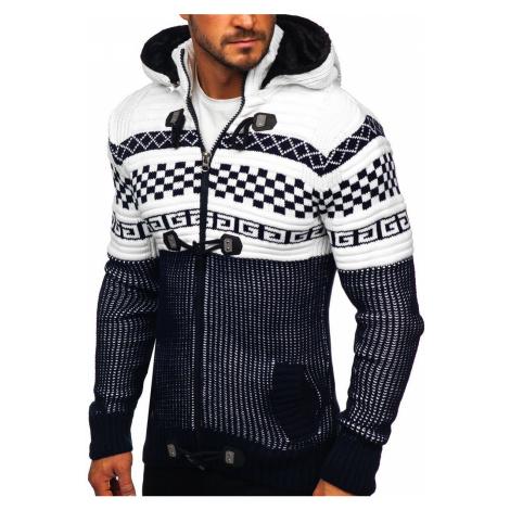 Tmavomodrý hrubý pánsky sveter/bunda so zapínaním na zips s kapucňou Bolf 2061