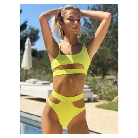 Dámske plavky Malibu Cut Out Bikini Lime - Hugz Gemini
