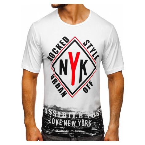Biele pánske tričko s potlačou BOLF 6305 RIPRO