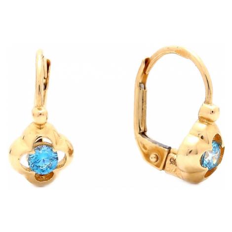 Zlaté dievčenské náušnice KVET s modrým kameňom
