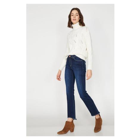 Koton Women's Blue Normal Waist Boot Cut Jean