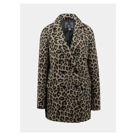 Hnedý zimný kabát s leopardím vzorom Dorothy Perkins Tall