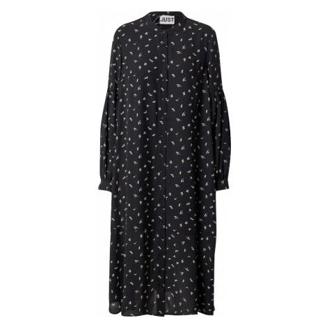 JUST FEMALE Košeľové šaty 'Hydra'  čierna / biela / kaki