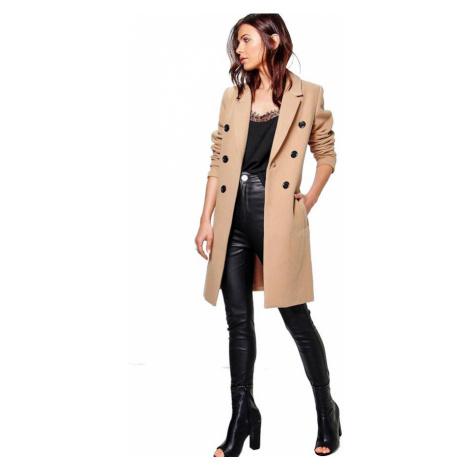 Nadčasový kabát s dvojitou sadu tlačidiel Natalie Boohoo