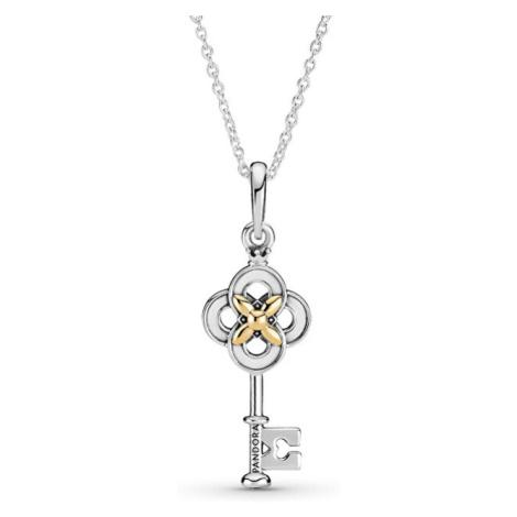 Pandora Strieborný bicolor náhrdelník Husľový kľúč Passions 399339C01-70 (retiazka, prívesok)