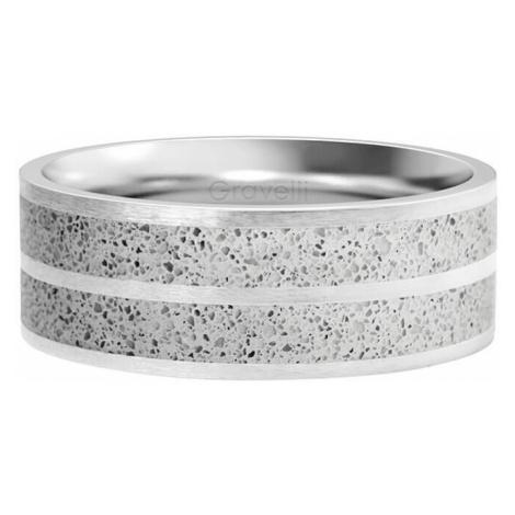 Gravelli Betónový prsteň Fusion Double line oceľová / sivá GJRWSSG112 mm