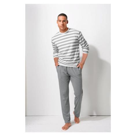 H.I.S Dlhé pyžamo  biela / sivá