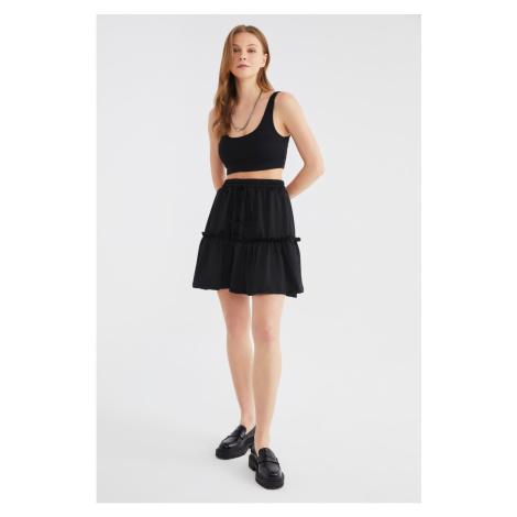 Trendyol Black Ruffle Knit Skirt