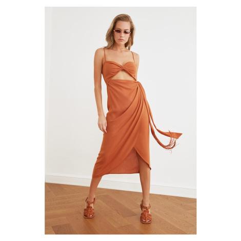 Trendyol Tile Cut-Out Detailed Tasseled Beach Dress