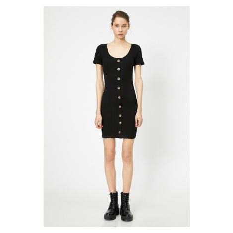 Koton Women Black Button Detailed Dress