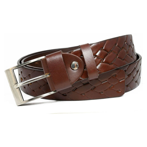 Men´s leather belt with a braided brown motif