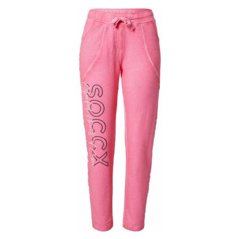Soccx Nohavice  ružová / čierna / biela