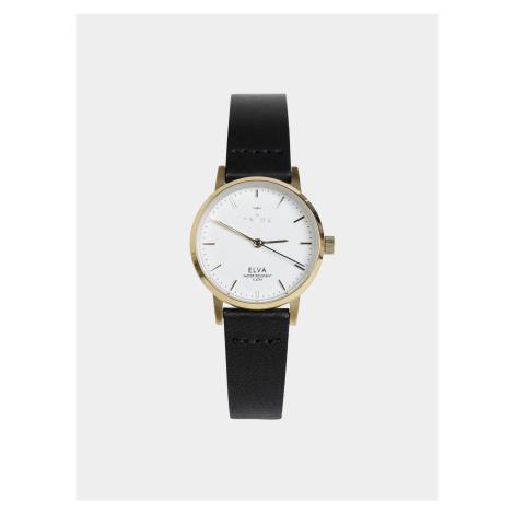 Dámske hodinky s čiernym koženým opaskom TRIWA Elva