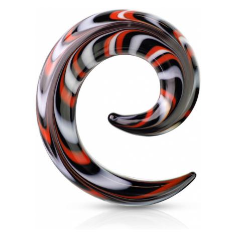 Špirálový expander do ucha zo skla - vzory bielej, červenej a čiernej farby - Hrúbka: 8 mm