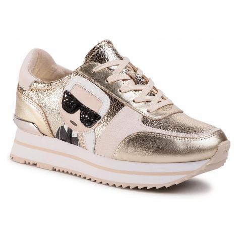 Sneakersy KARL LAGERFELD - KL61933 Gold Textured Lthr