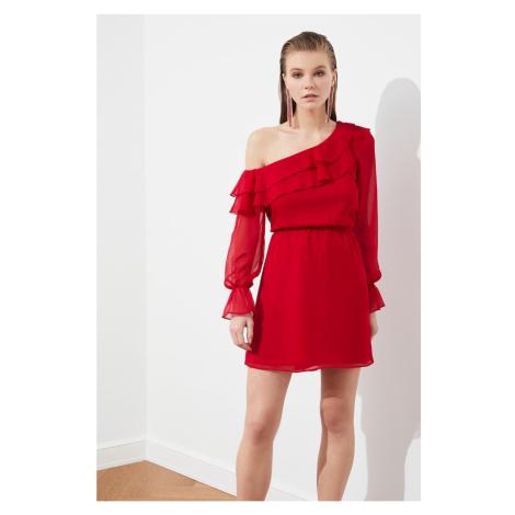 Trendyol Red Flywheel Chiffon Dress