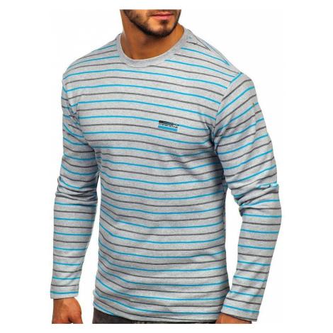 Šedé pánske prúžkované tričko s dlhými rukávmi Bolf 1519 COMEOR