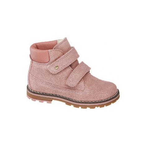 Ružová detská kožená členková obuv na suchý zips Elefanten
