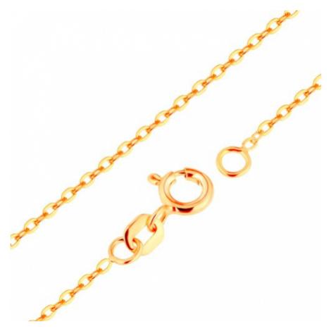 Retiazka zo žltého 9K zlata - hladké oválne očká, vzor Rolo, 500 mm