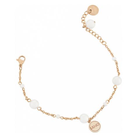 Liu.Jo Ružovo pozlátený oceľový náramok s perličkami LJ1507