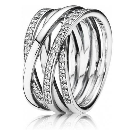 Pandora Strieborný prepletený prsteň 190919CZ mm