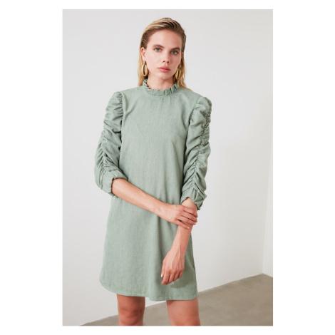 Trendyol Mint Velvet Ruffle Detailed Dress
