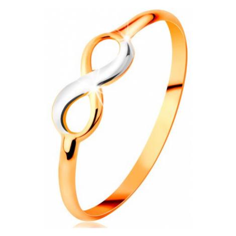 Zlatý prsteň 585 - dvojfarebný lesklý symbol nekonečna, úzke hladké ramená - Veľkosť: 55 mm