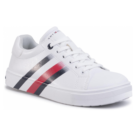 Sneakersy TOMMY HILFIGER - Low Cut Lace-Up Sneaker T3B4-30721-0901 S White 100