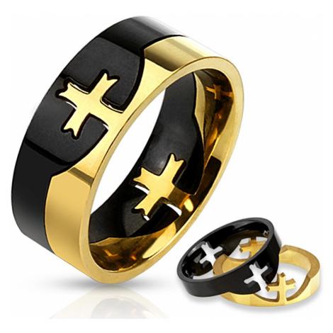 Dvojdielny prsteň čierno-zlatej farby z chirurgickej ocele, kríž - Veľkosť: 73 mm