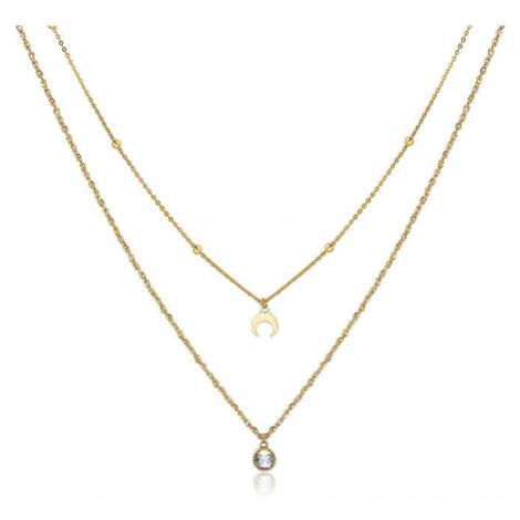 S`Agapõ Dvojitý pozlátený oceľový náhrdelník s ozdobami Aurora SAR08 S'Agapõ
