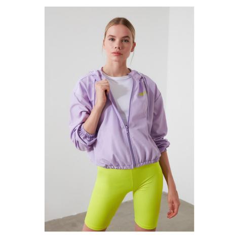 Trendyol Lila Hooded Slogan Detailed Thin Coat Lilac