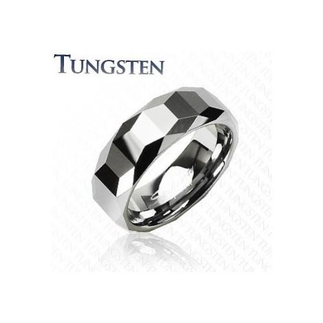 Wolfrámový prsteň - vysokolesklý s geometrickým vzorom - Veľkosť: 70 mm