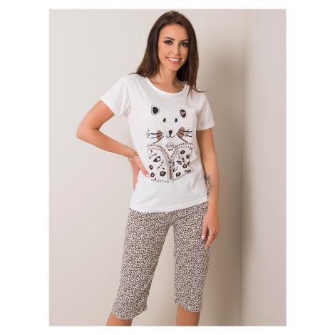 Biele krátke pyžamo so zvieracím vzorom