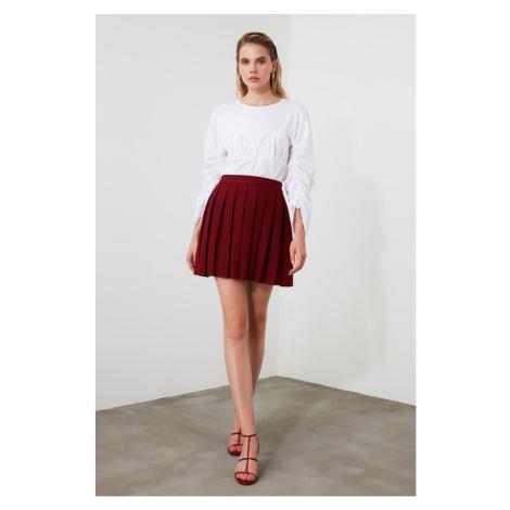 Trendyol Burgundy Pleated Skirt