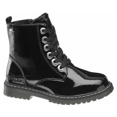 Tom Tailor - Čierna lakovaná dievčenská členková obuv Tom Tailor s Tex membránou