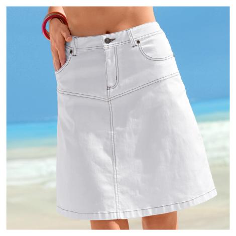 Blancheporte Džínsová sukňa s rozšíreným strihom biela