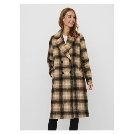 Hnedý kockovaný kabát VERO MODA