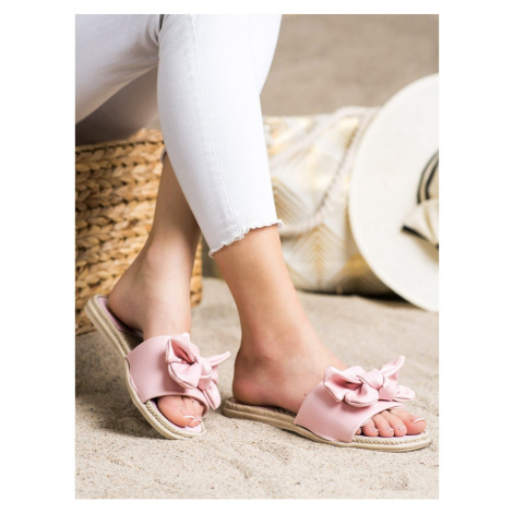 SMALL SWAN ECO LEATHER FLIP-FLOPS WITH BOW
