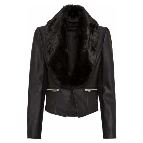 Koženková bunda s kožušinovým golierom bonprix