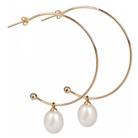 JwL Luxury Pearls Pozlátené polkruhové náušnice 2v1 s pravými perlami JL0298