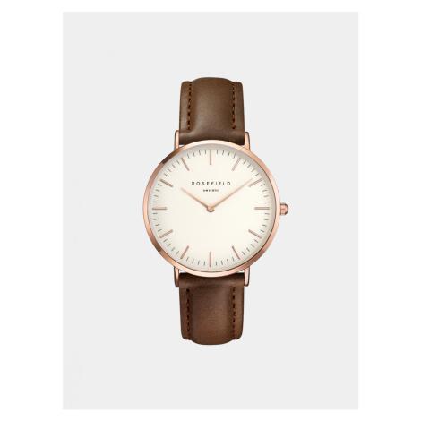 Dámske hodinky s hnedým koženým remienkom Rosefield