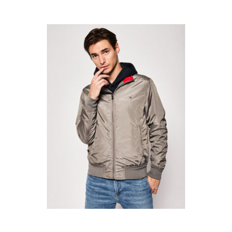 TOMMY HILFIGER Bomber bunda Stripe Rib MW0MW12230 Sivá Regular Fit