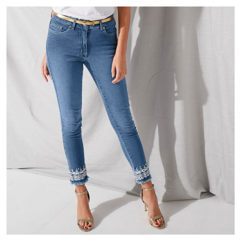 Blancheporte 7/8 džínsy s výšivkou zapratá modrá