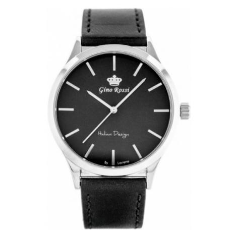 Pánske hodinky strieborno-čiernej farby Gino Rossi 10856A-1A1