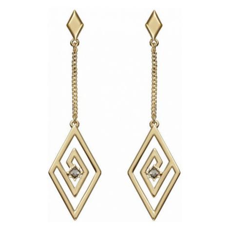 Karl Lagerfeld Luxusné pozlátené náušnice s kryštálmi Concentric Diamond Chain