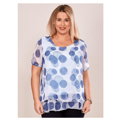 Airy light blue blouse with a floral pattern PLUS SIZE