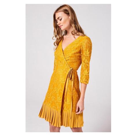 Zavinovacie midi šaty s reliéfom Little Mistress